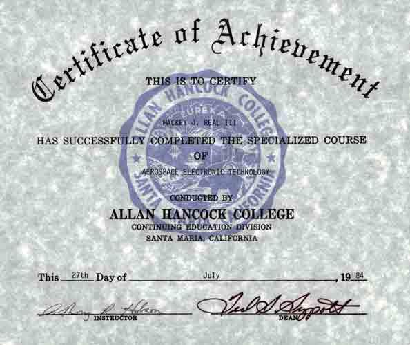certificate of training   u0026quot  aerospace electronic technician